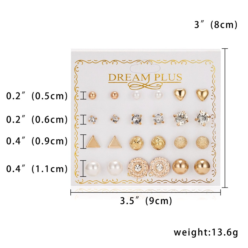12 Pairs/set Stud Earrings Set With Card Transparent Zircon Balls Love Flowers Earrings Women Imulated Pearl Earrings Jewelry 18