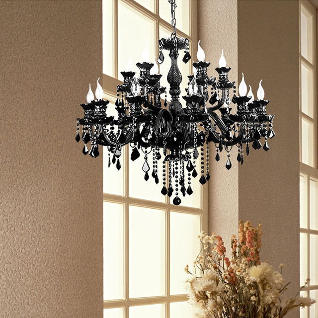 Modern Black Chandelier K9 Crystal Led Luxury Lamp Large Chain