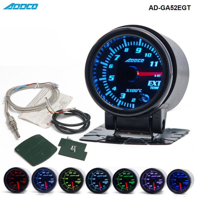 "2""/52mm 7 Color LED Car Exhaust Gas Temp Gauge Ext Temp Meter EGT With Sensor and Holder AD-GA52EGT"