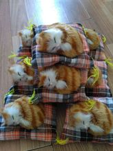 5 pieces a lot cute simulation cat toys polyethylene & furs mini yellow sleeping cat dolls gift about 10cm