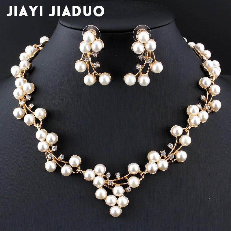 Brautschmuck Sets Sammlung Hier Jiayijiaduo Imitation Perle Hochzeit Schmuck Halsketten Für Frauen Braut Afrikanische Perlen Schmuck Set Kristall Modeschmuck Set Hochzeits- & Verlobungs-schmuck