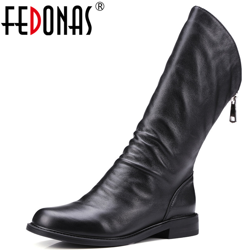 FEDONAS Brand Women Party Wedding Mid-Calf Boots Genuine Leather Autumn Winter Warm Shoes Round Toe Quality Shoes Woman Flats цена 2017