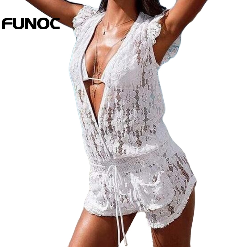 Funoc Women Summer Jumpsuits Ladies Siamese Trousers Deep V-neck Lace Chiffon One Piece Pants Siamese Short Sleeves Plus Size