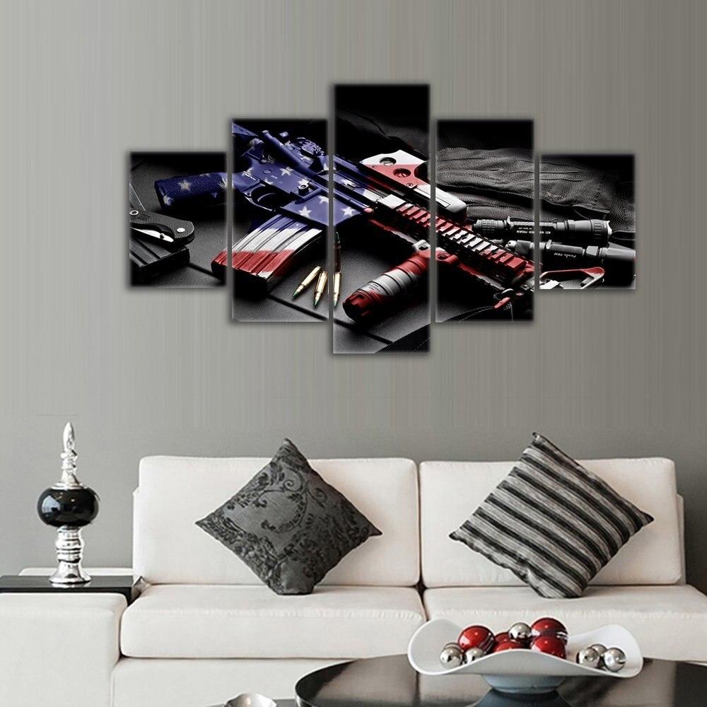 Arma Retro bandera americana militar lienzo arte independencia día ...