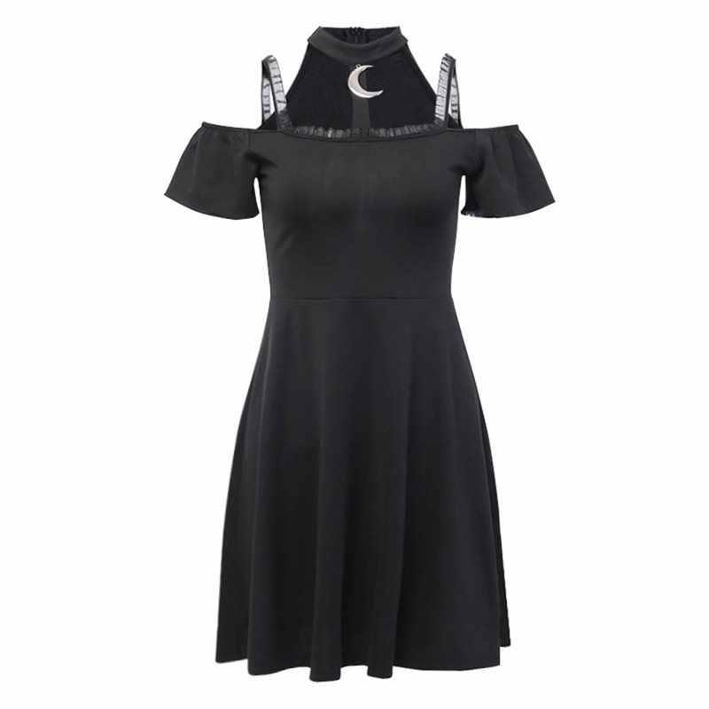 Été gothique Chic élégant Harajuku noir femmes Mini robes Sexy Club Punk maille lune dentelle sans bretelles femme Goth robe à glissière