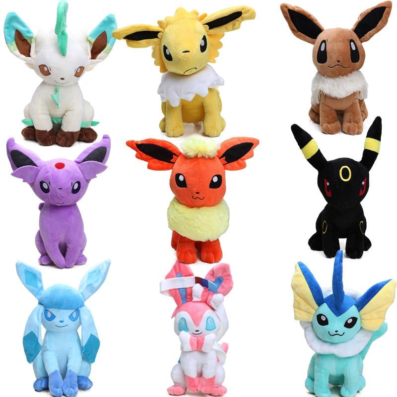 30cm Eevee Jolteon Umbreon Flareon Espeon Vaporeon Soft Stuffed Animal Dolls Pocket Plush Toys Digimon World Plushie Toys