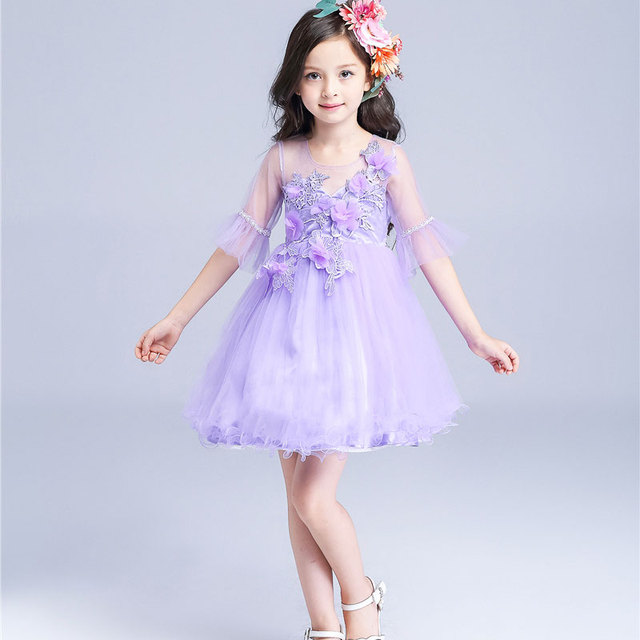 27948bae777 Vintage Lace Flower Girls Wedding Dress Purple Petal Attach Voile Kids  Dresses for Party Dancing vetement fille 2-9T