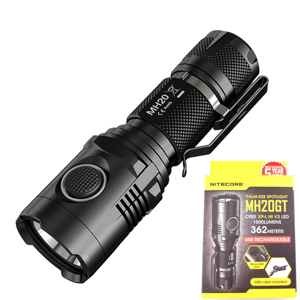 Outdoor Flashilght NITECORE MH20GT CREE XP-L HI V3 max. 1000LM beam distance 362 meters Rechargeable torch for hunting tactical nitecore dl10 cree xp l hi v3 led max 1000lm beam distance 223m waterproof 30m dual light source diving light underwater torch