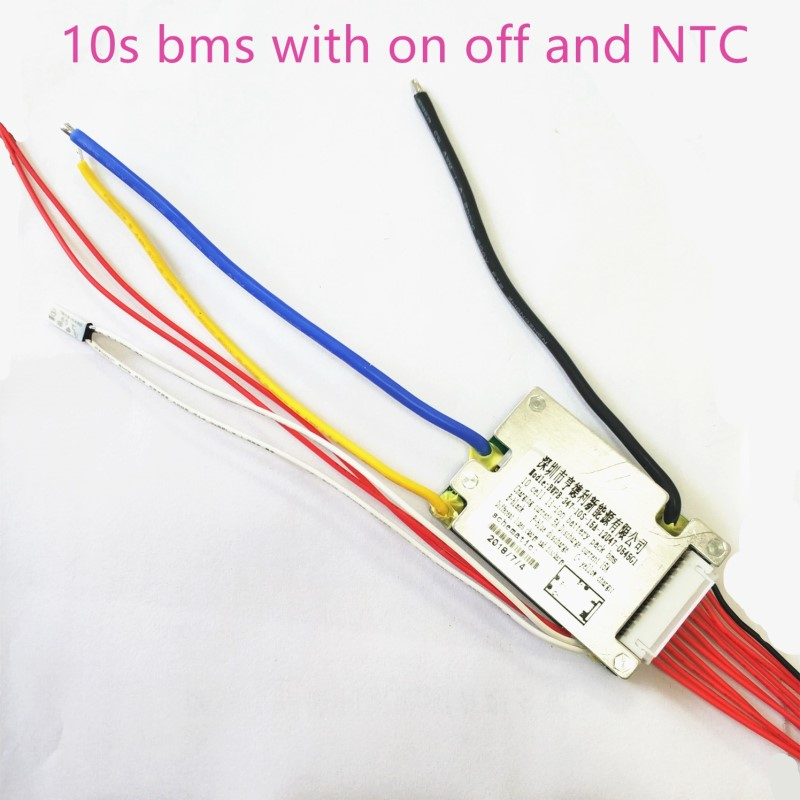10s bms 36v e bike battery bms with on off switch NTC charging voltage 42v 15a bms pcm