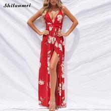 Red Printed Side Slit Long Dress Women Summer 2018 Sexy Deep V Beach Dress Maxi vestidos verano Ladies Sleeveless Party Dresses sexy u neck sleeveless printed high slit maxi dress for women