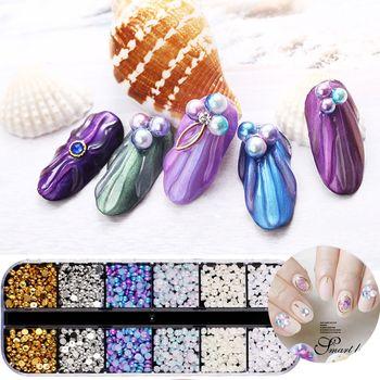 1 Box Shiny Pearls Beads 3D Nail Art Tips Mixed Sizes Acrylic Glitter Rhinestones DIY Beauty Manicure Nail Stickers Decoration Nail Decorations
