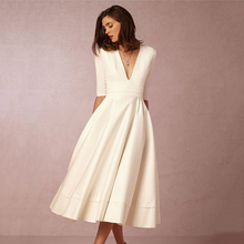 2018 autumn new womens high-end sexy deep V middle sleeve long Lady Dress