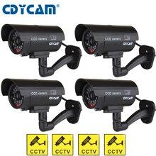 4 pcs (1 กระเป๋า) ปลอมกล้อง dummy กล้องวงจรปิดกันน้ำกลางแจ้งในร่ม Dummy ปลอมกล้องกล้อง LED Light การเฝ้าระวังวิดีโอ