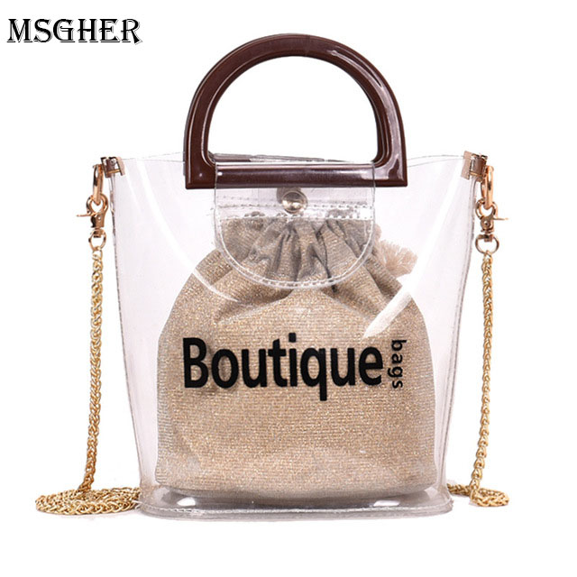 M.S Small Transparent Bag Clear PVC Plastic Quilted Beach Bags Luxury Women Handbags 2018 Summer Beach Bag Feminina Shoulder Bag
