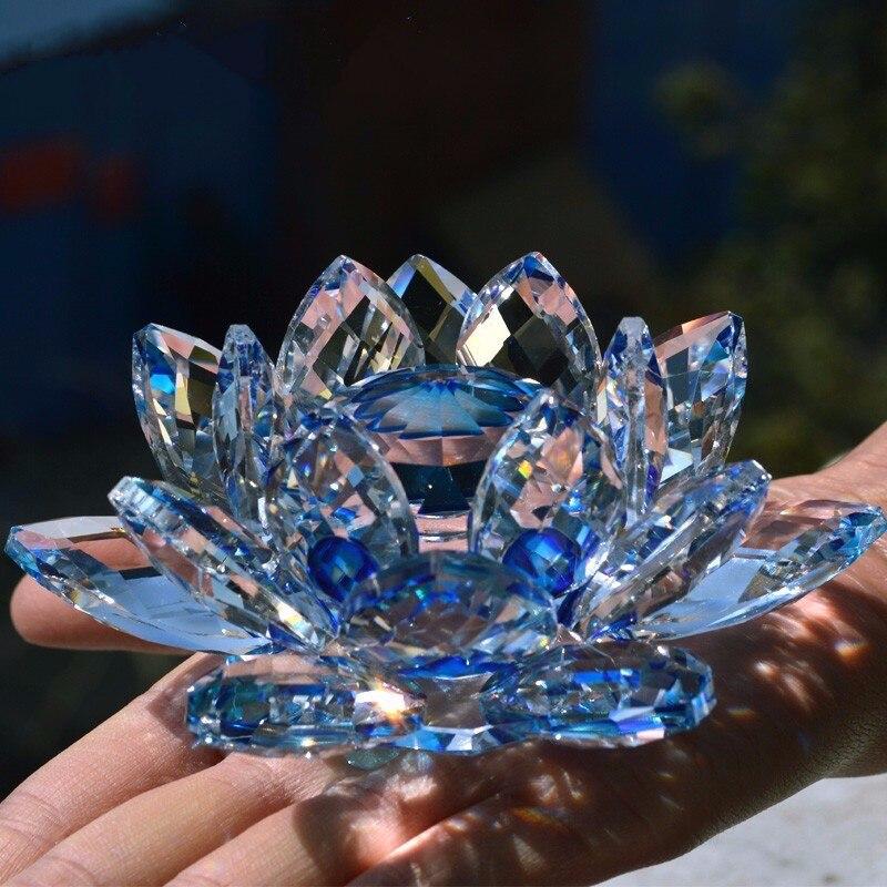 Kristall Lotus Blume figuren miniatur Fengshui dekorative Ornamente Hochzeit Hause Desktop-dekoration Zubehör mit Geschenk-box