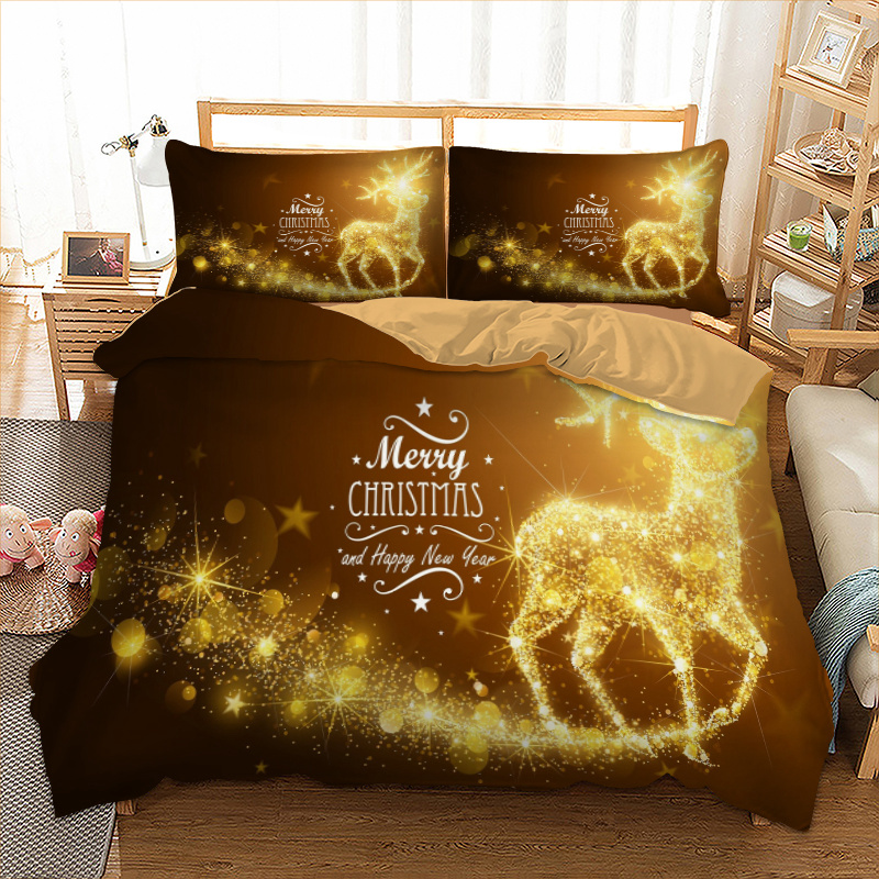 Gold Elk Bedding Set Xmas Duvet Cover Pillow Cases Twin Full Queen King AU Single UK Double Size Merry Christmas Bed Lines