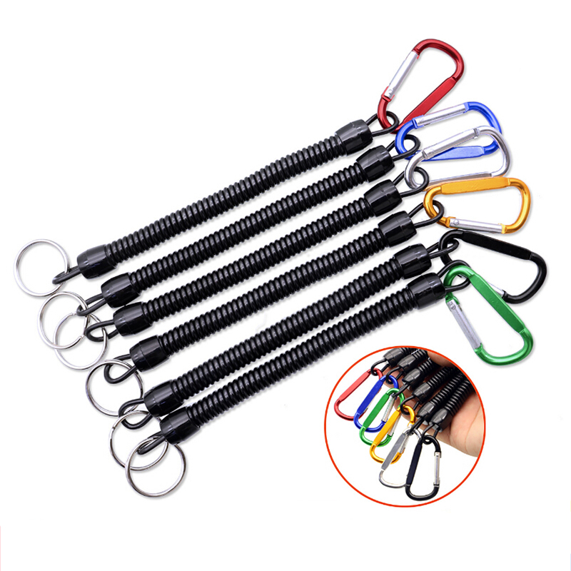 5pcs Fishing Lanyards Boating Ropes Retention String Fishing Rope with Camping Carabiner Secure Lock Fishing Tools Accessories