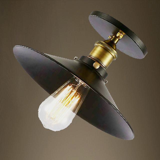 Loft Vintage Ceiling Lamp Round Retro Ceiling Light Industrial Design Edison Bulb Antique Lampshade Ambilight Lighting Fixture