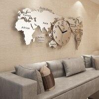 Large World Map Wall Clock Modern Design for Living TBackground Metal Clocks Wall Watch Home Decor 115x55cm