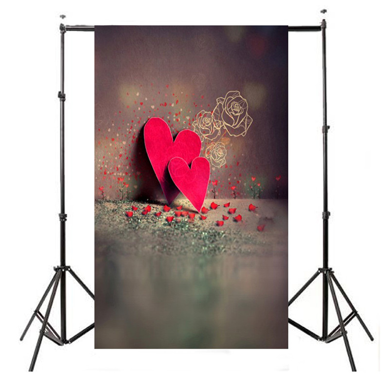 3x5ft Vinyl Valentine's Day Photography Background For Studio Photo Props Red Heart Photographic Backdrops Cloth 90cm x 150cm allenjoy photography backdrops red heart love black wedding valentine s day photo backdrop vinyl for photographic studio