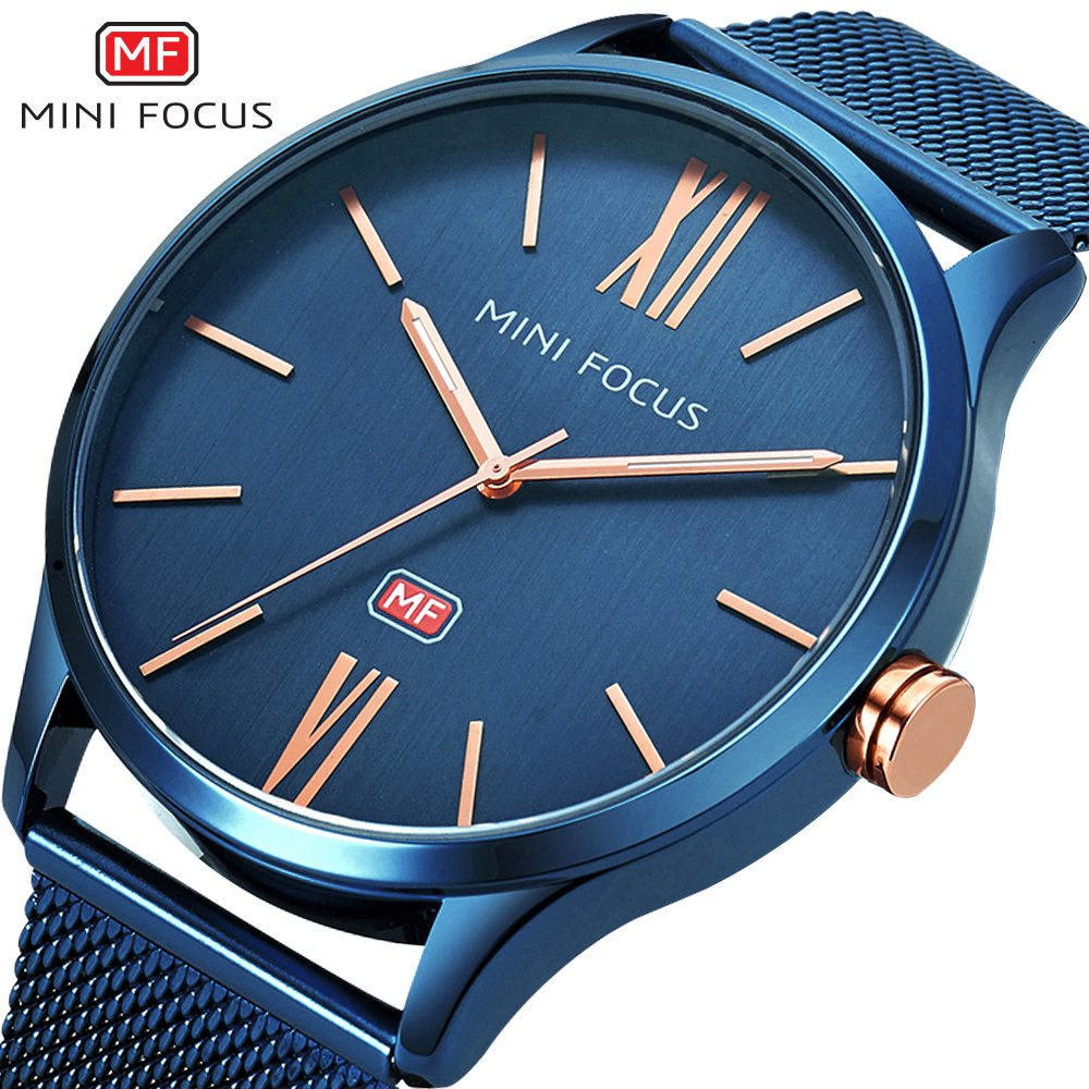 MINIFOCUS 2018 New Top Fashion Brand Mens Watches Luxury Casual Quartz Watch Stainless Steel Mesh Band Clock Relogio Masculino luxury brand biden mens watches multi time zone casual quartz wrist watch men mesh stainless steel band relogio masculino