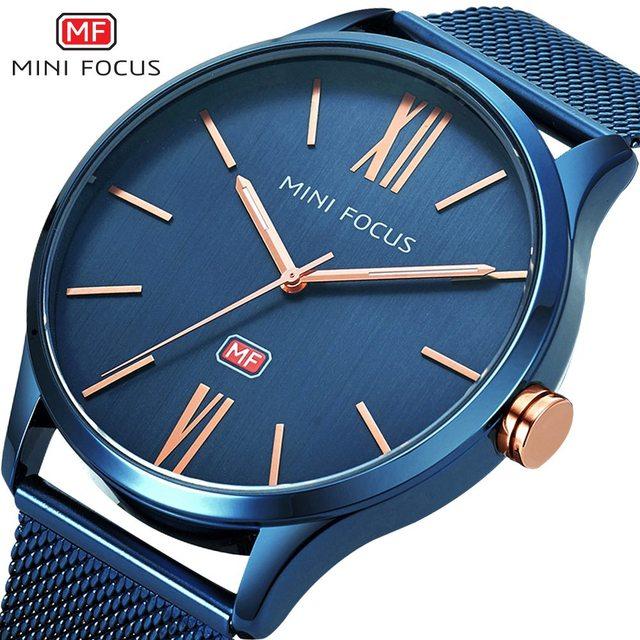 MINIFOCUS 2018 New Top Fashion Brand Mens Watches Luxury Casual Quartz Watch Stainless Steel Mesh Band Clock Relogio Masculino