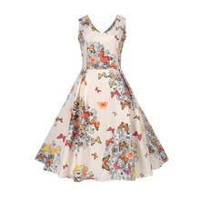 Bebovizi Fashion Spring Summer Sexy V Back Robe Femme Hepburn Women's Midi Dress Vintage Rockabilly Big Swing Dresses Clothing