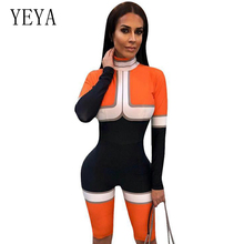 YEYA Color Block Rompers Womens Jumpsuit Long Sleeve Bodysuits Back Zipper Casual Skinny Women Playsuit Sexy Party Club Overalls