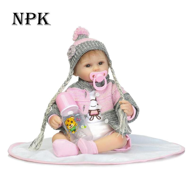 NPK 42CM Soft Silicone Reborn Baby Doll Girl Toys 17inch Lifelike Babies Boneca Full VInyl Fashion Dolls Bebe Reborn 2018 npk black skin full silicone girl pacifier model baby dolls 56cm lifelike reborn baby boneca can enter water bath doll toys