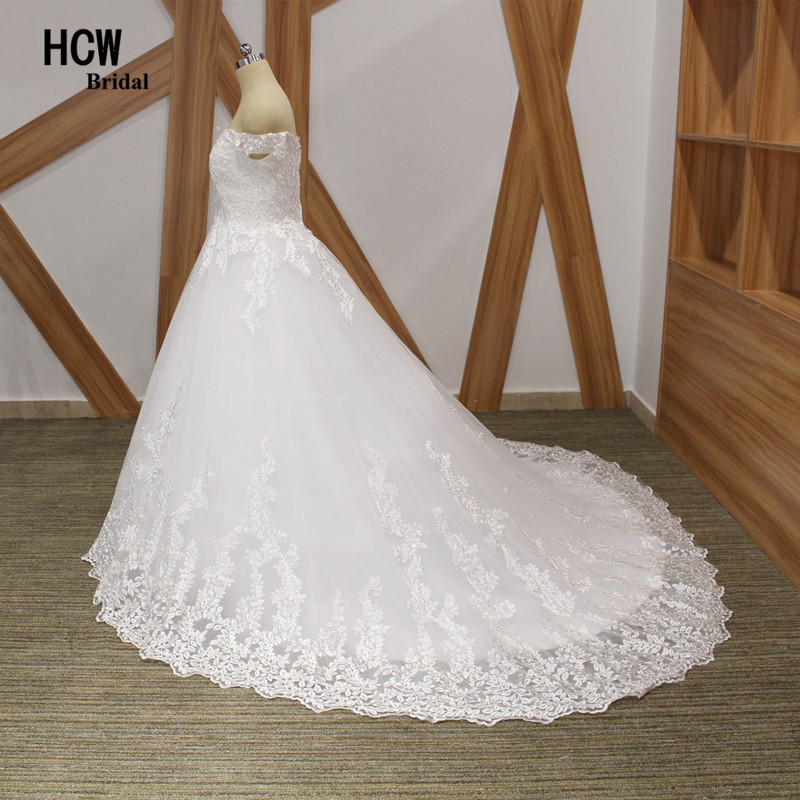 Sierlijke Tull Lace trouwjurk boothals off the shoulder prinses - Trouwjurken - Foto 3