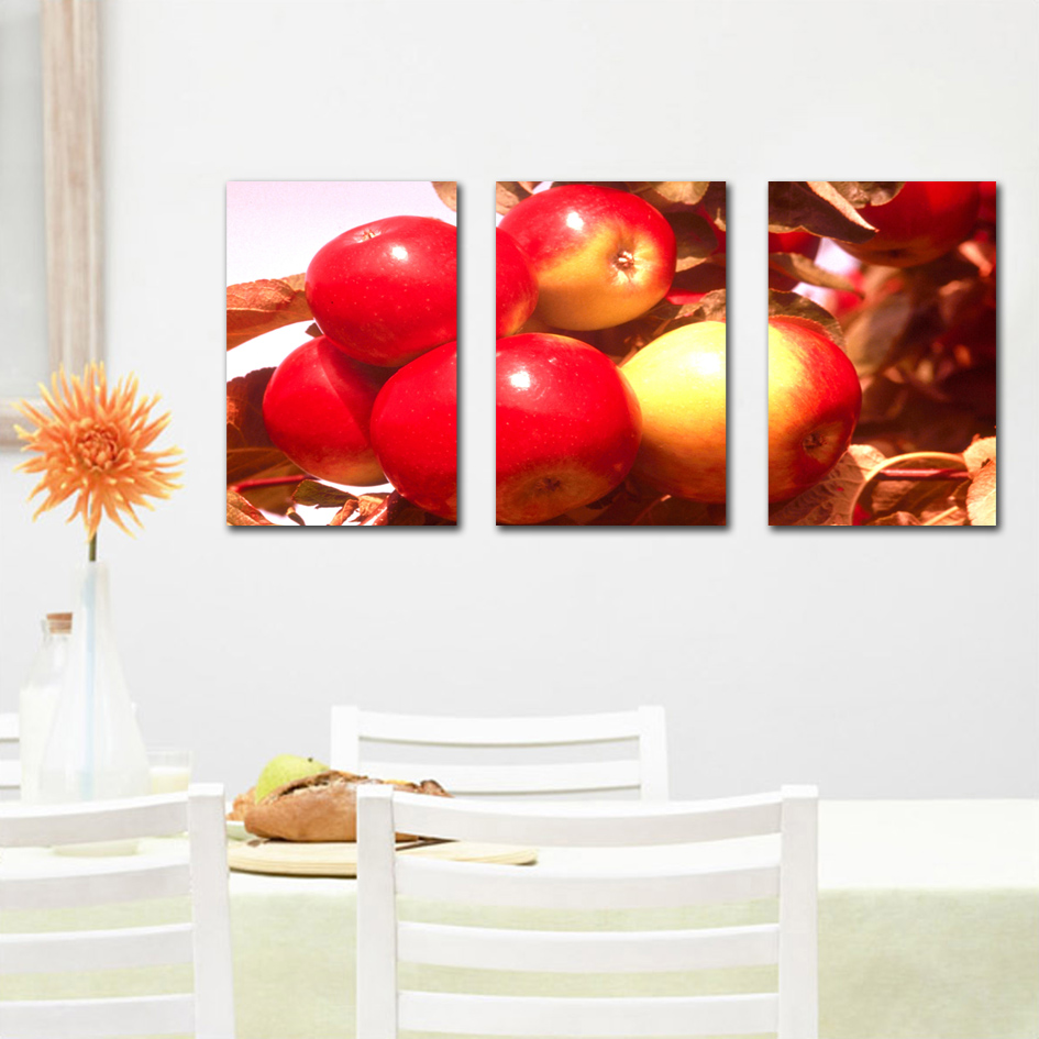 3 piece hot sell modular wall paintings red apple kitchen for Kitchen paintings pictures