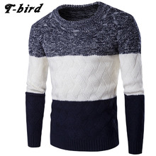 T-bird 2017 Vogue Model Clothes Males Sweater Three Colours O-Neck Slim Match Informal Pullover Males Sweaters Knitting Mens XXL IUEM