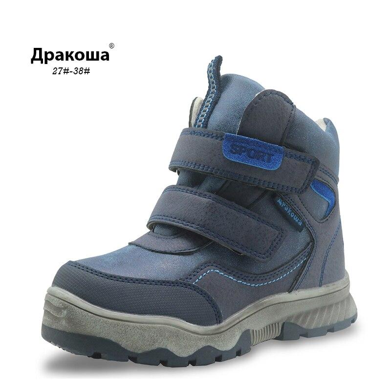 Apakowa D'hiver Garçons Bottes Étanche Enfants Cheville Neige Bottes avec Wollen Doublure Chaude En Peluche Enfants de Chaussures avec Anti- tissu de neige