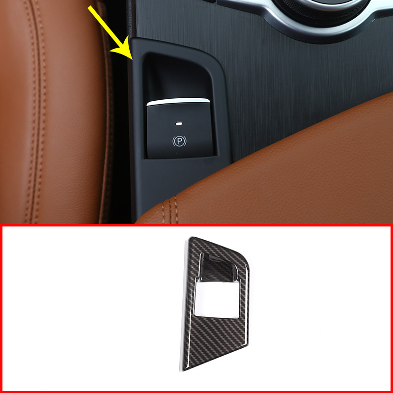 Carbon Fiber Car P Button Electronic Handbrake Frame Cover
