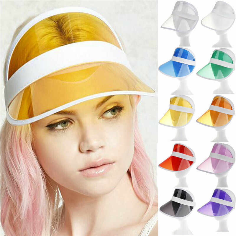 Summer PVC Transparent Hat Sun Visor Party Casual Hat Clear Plastic Adult Sunscreen Cap Visors Women Men Outdoor Hat Lady Cap