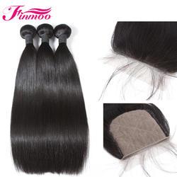 Finmoo Малайзии прямые человеческие волосы Связки с 5*5 синтетическое закрытие волос бесплатная часть натуральные волосы Реми 3 с Чехол