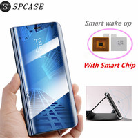 SPCASE Smart Window View Clear Mirror Cases For Samsung S9 Plus S8 Plus S7 Edge S6 Edge Plus Note 8 Leather Chip Cover with IC