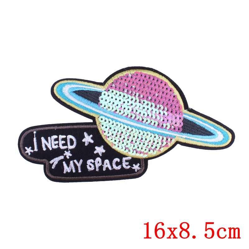 Prajna astronauta rakieta roślin hafty naklejki chcę, żeby moja przestrzeń T Shirt z cekinami plecak łatki na odzież DIY szycia