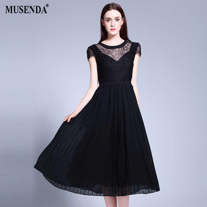MUSENDA Plus Size Women Lace Chiffon Patchwork Tunid Pleated Dress 2017 Summer  Sundress Lady Fashion Boho f955d55170c2