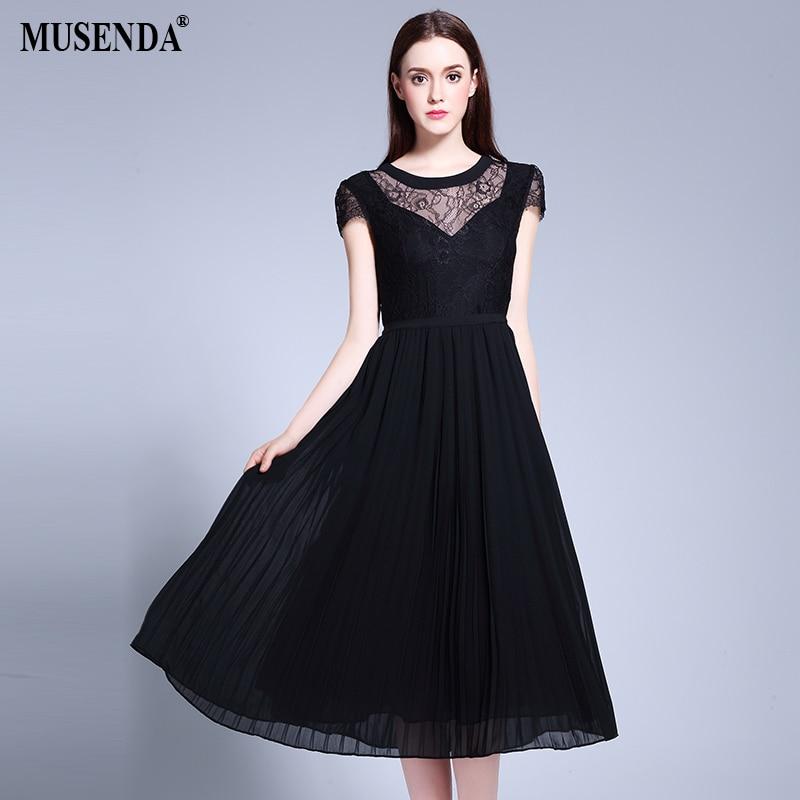 MUSENDA grande taille femmes dentelle mousseline de soie Patchwork Tunid robe plissée d'été robe d'été dame de mode Boho plage robes de fête
