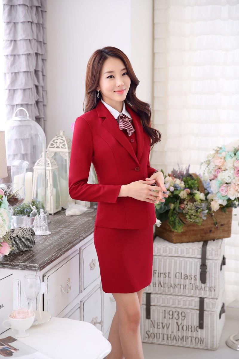 5274140f5bb0d New 2016 Autumn Formal Ladies Beauty Salon Office Uniform Design Women  Skirt Suits Work Wear Uniform Red Blazer Sets OL Style-in Skirt Suits from  ...
