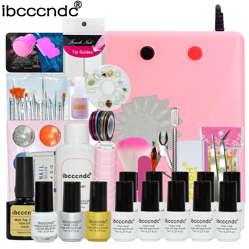 10 Pcs 7ml UV Gel Nail Polish Set Nail Art Tools Brushes Glitter Varnish Manicure Kit + 36W UV Lamp Mirror Powder Nail Template cnhids in 24w professional 9c uv led lamp of resurrection nail tools and portable package five 10 ml soaked gel nail polish