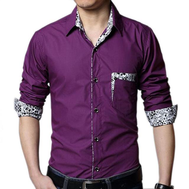 Camisa más del tamaño de los hombres primavera 2017 otoño masculino de manga larga camisa masculina ocasional negro blanco púrpura 4XL 5XL 6XL 7XL 8XL