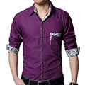 Plus size shirt for men spring 2017 autumn male long-sleeve shirt male casual black white purple 4XL 5XL 6XL 7XL 8XL