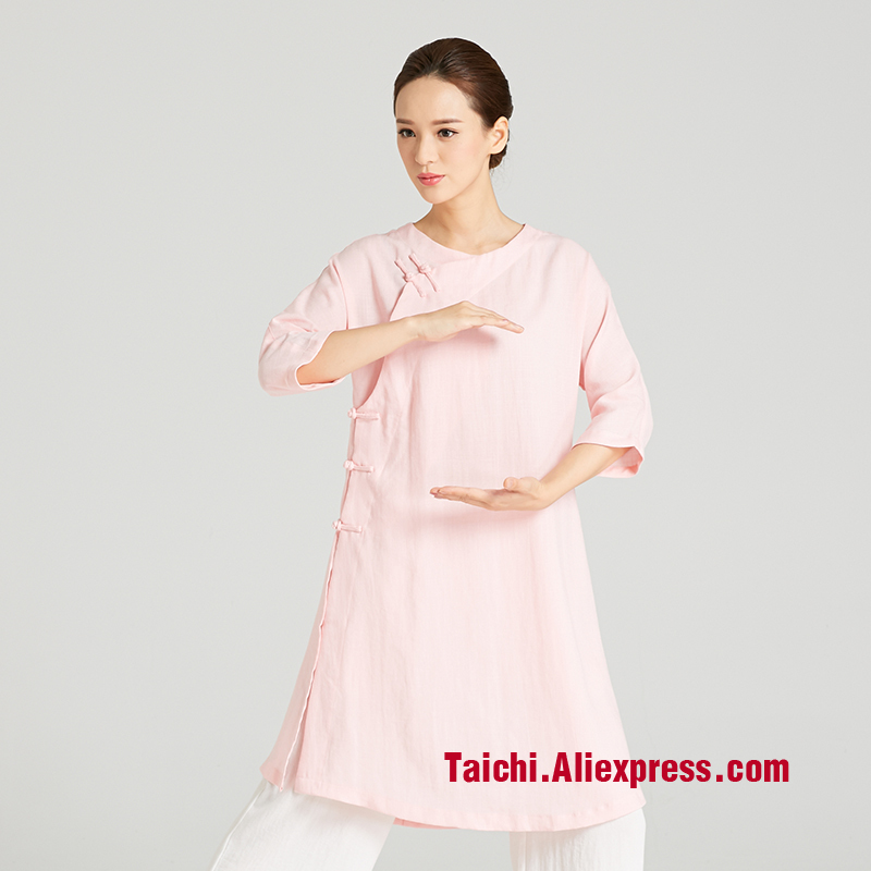 Female Handmade Linen Tai Chi Uniform Wushu, Kung Fu,martial Art Suit,short Sleeve Robe,robe + Pants  Chinese Stlye