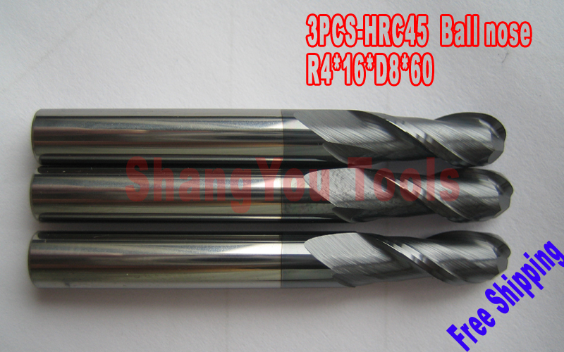 Free shipping-3pcs 8mm 2 Flutes Milling tools Milling cutter Ball nose End Mill CNC router bits hrc45 R4*16*D8*60  цены