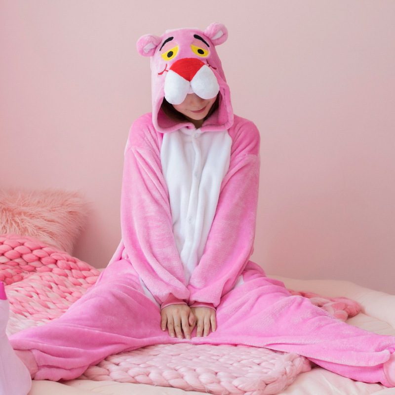 Winter Kigurumi Cute Pink Panther Woman Onesie Hooded Onesies For Adult One-Piece Animal ...