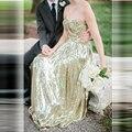 2017 Блестки Новый Блеск Золота Длинные Платья Невесты Милая-Line Пром Платье Свадебное Платье Пространственное Случай Платье c22