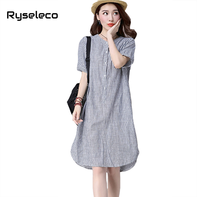 29e6816d4a Cotton Linen Dress Short Sleeve Stand Collar Elegant Women Fashion Vertical  Striped Cartoon Print Slits A-Line Loose Shirt Dress