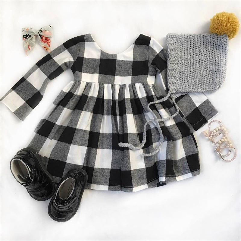 все цены на Lovely Girls Cotton Dress Long Sleeve Plaid Cotton Casual Dress Autumn Winter Cotton Clothes For Children Girls